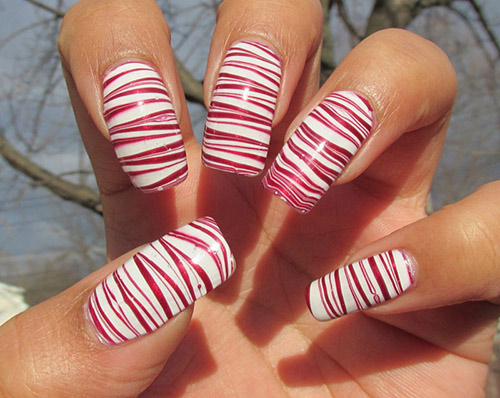 Best Christmas Nail Art Candy Cane Marble Design - Fun Easy Christmas Cane Nail Designs. Candy Crush Nail Art Fables