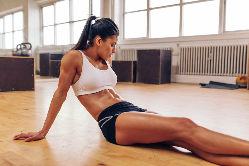 woman with strong abs
