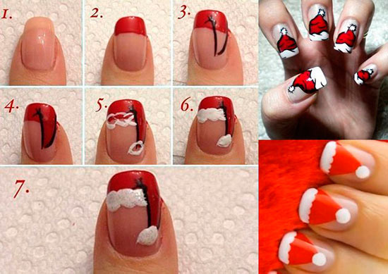 Diy santa nail art designs for christmas beauty tips hair care