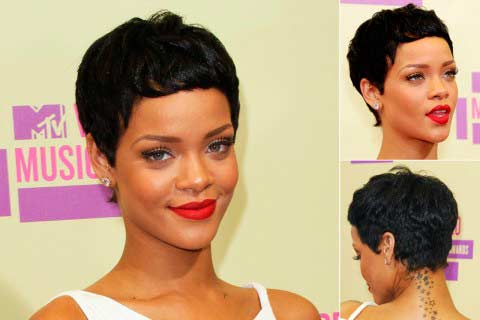 Wondrous Rihanna Short Haircuts From The Back Best Hairstyle 2017 Short Hairstyles For Black Women Fulllsitofus