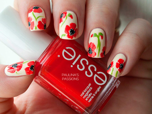 Vintage Floral Nail Art Design Ideas