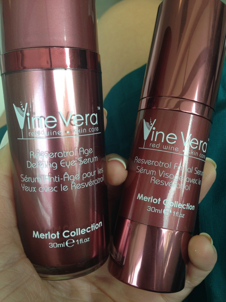 Test out the two serums from Vine Vera Resveratrol Merlot Collection