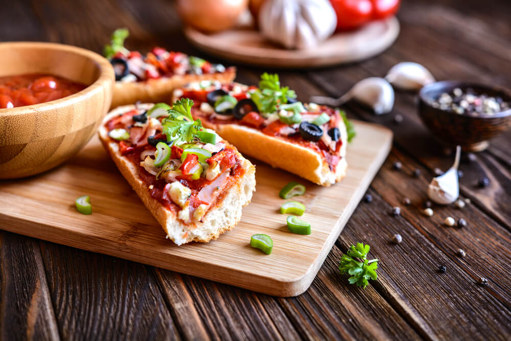 pizza on French bread