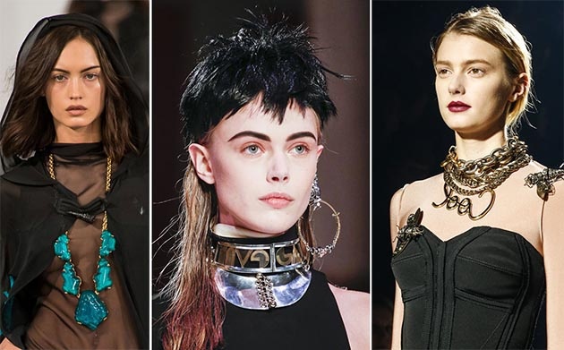 Runway models with stylish chokers