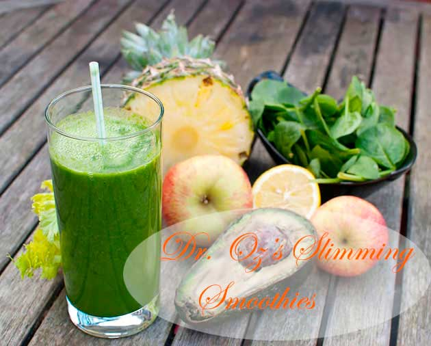 Green smoothie with assorted fruit and vegetables
