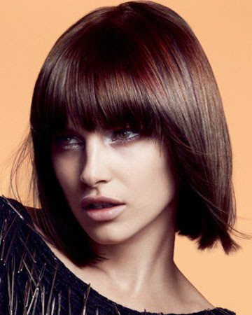 Woman with short bob and straight fringe