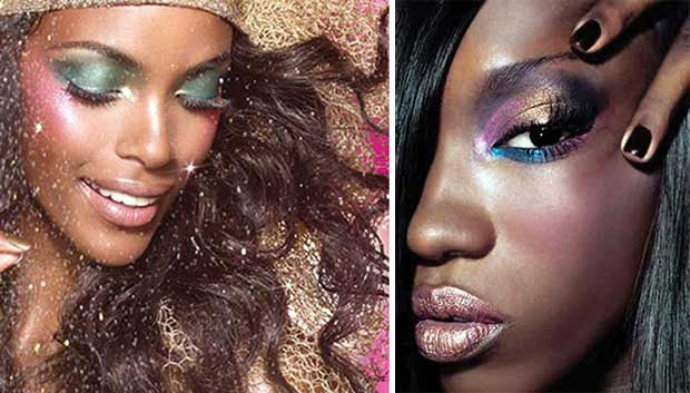 Two women with creative bold makeup