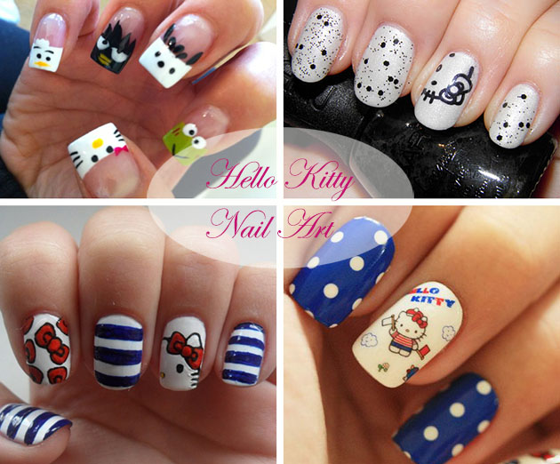 Multiple Hello Kitty nail art design