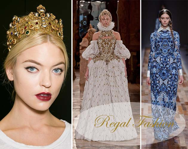 Runway models in regal royal fashion
