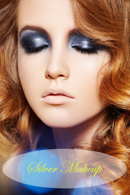 Young woman with silver and blue eyeshadow