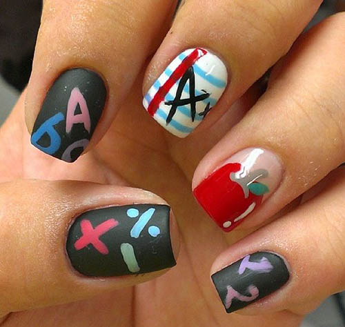 Back-to-school nail art design