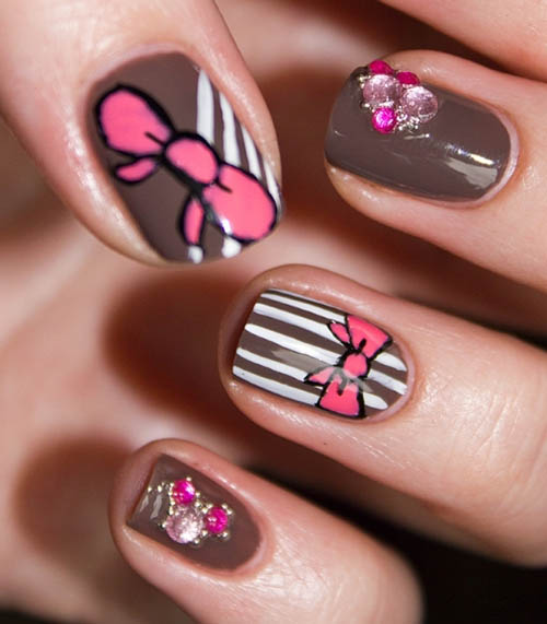 Cute Nail Art Designs With Bows Beautyfrizz