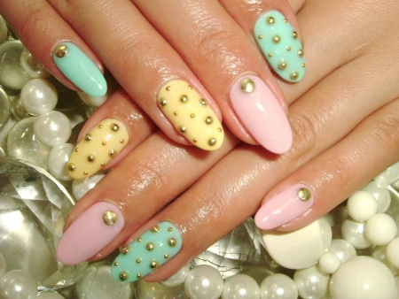 Rhinestoned and Studded Nail Art Designs