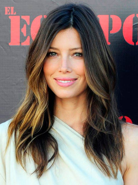 Jessica Biel with ombre hairstyle