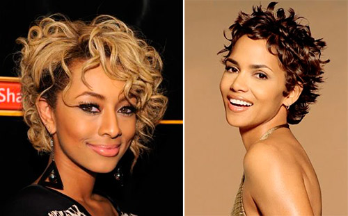 Two women with different short curly hair