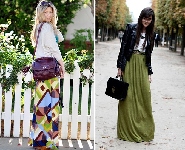 Fashionable woman in maxi skirt in the street