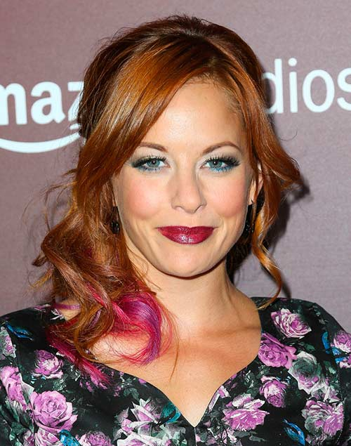 Amy Paffrath with pink highlights in hair