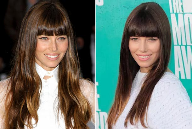 Jessica Biel in two different hairstyles