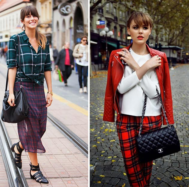 Women in plaid outfit outdoors