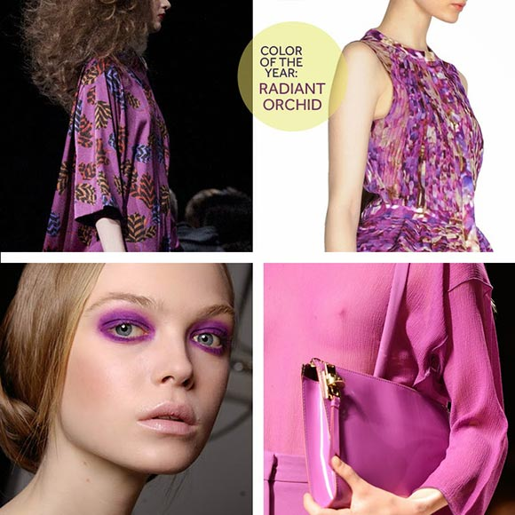 Models in orchid-colored clothes and makeup