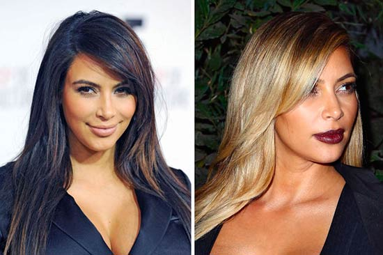 Kim Kardashian with different hairstyles