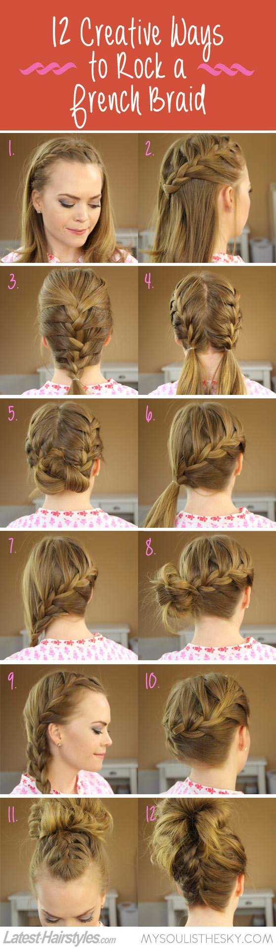 Hairstyle tutorial for French braid updo