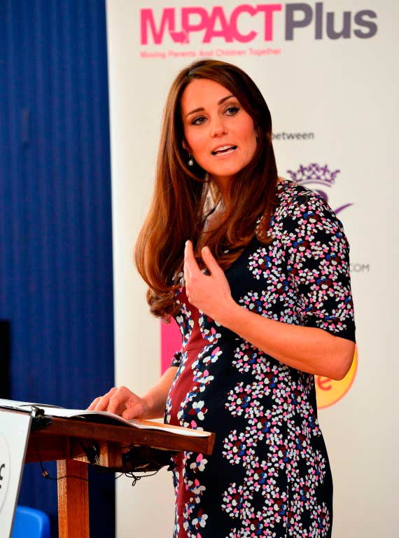 Kate Middleton speaking at event