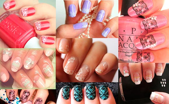 Nail art designs featuring lace