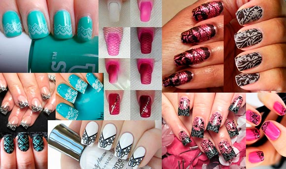 DIY Lace Nail Art Designs