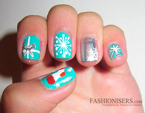 Snow New Year nail design ideas