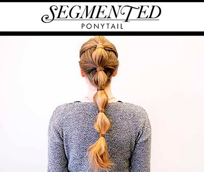 Model's hair with tiered ponytail