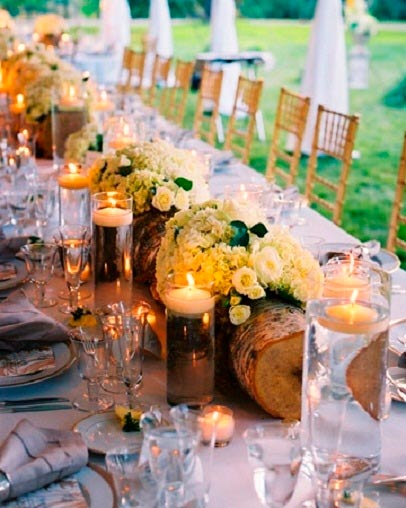 Wedding table candles with flowers