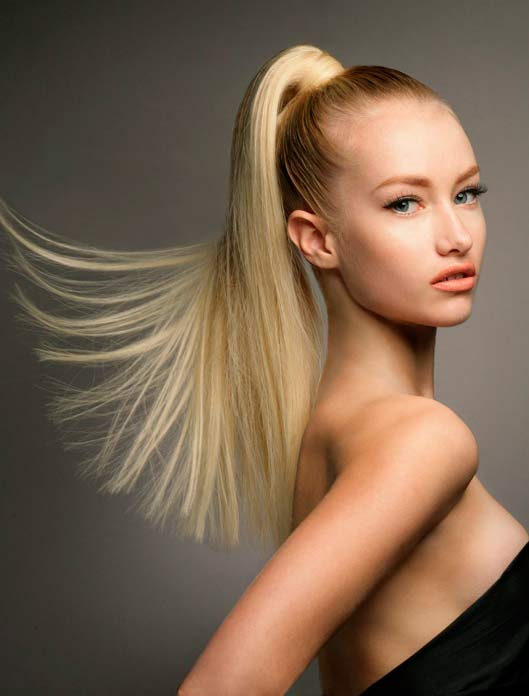 Model with high sleek ponytail
