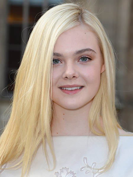 Elle Fanning with long blonde hair