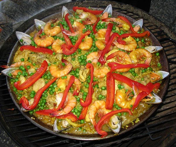 Spanish shrimp dish in a pan