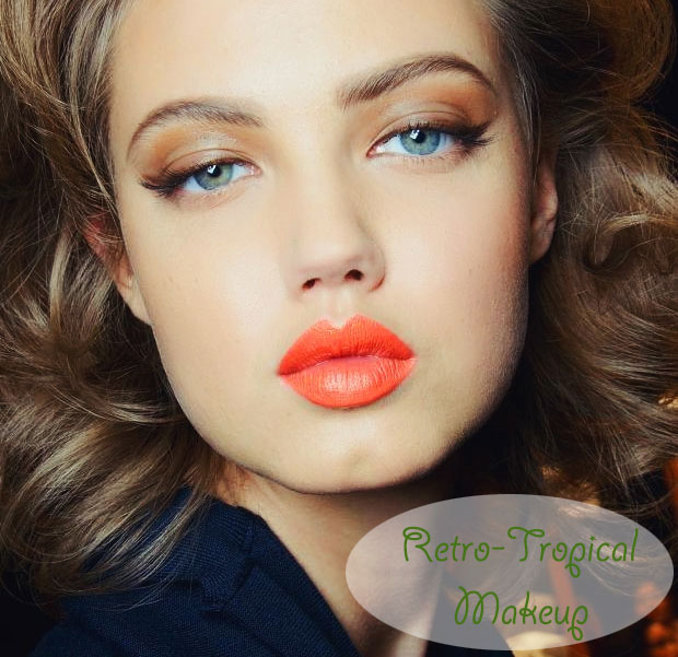 Woman with bright orange lips and sensual eye makeup