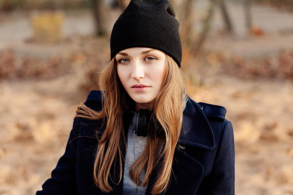 Beautiful woman with black beanie