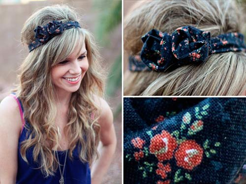 Model with cute DIY headband