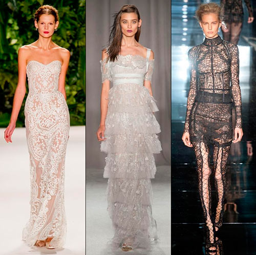 Fashion models on runway in lace
