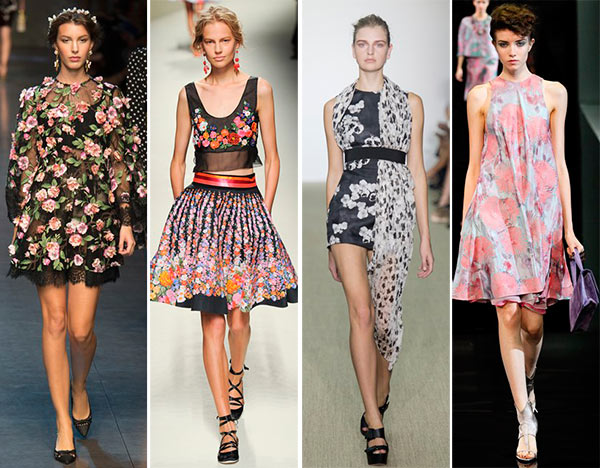 Models with floral print outfits