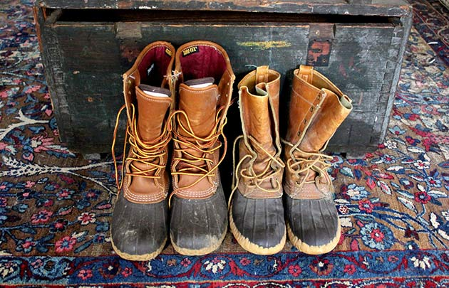 Two pairs of bean boots