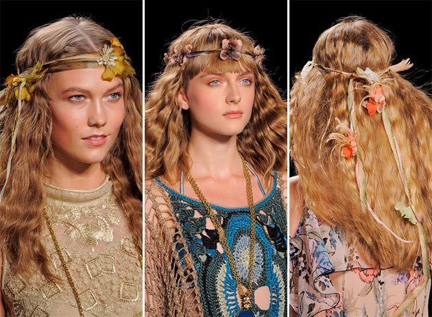 Models with boho summer floral head bands