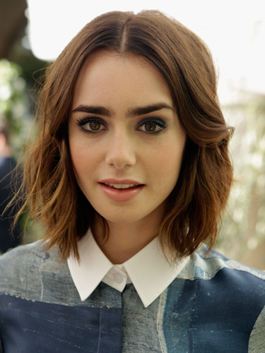 Lily Collins with short bob