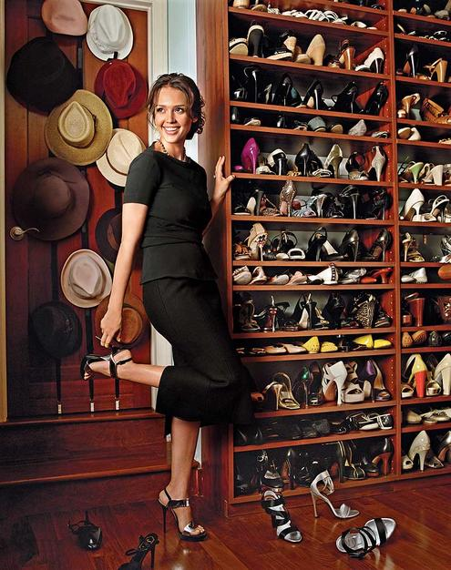 Jessica Alba with shoe closet