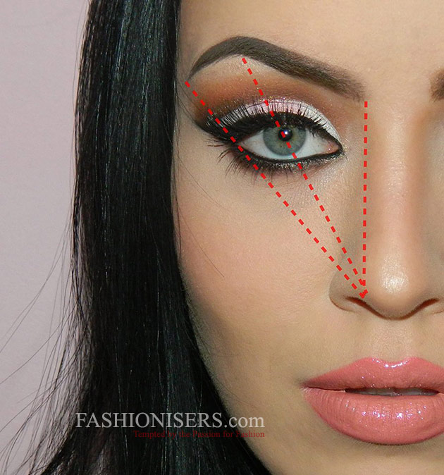 Tutorial image by Fashionisers on filling in eyebrows