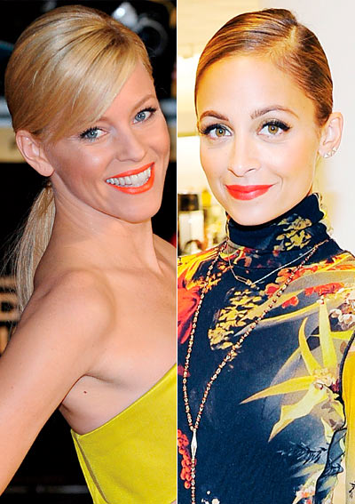 Panelled images of celebrities with orange lipstick