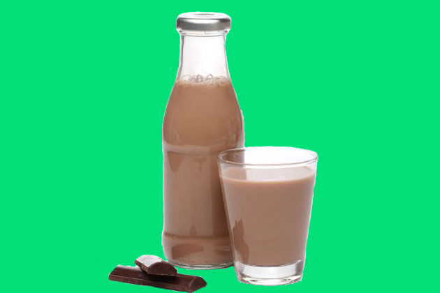 A bottle and a glass of chocolate milkshake