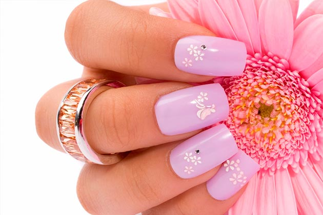 Woman's pink nail art design