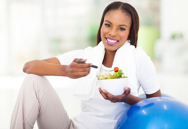 Woman enjoying a salad