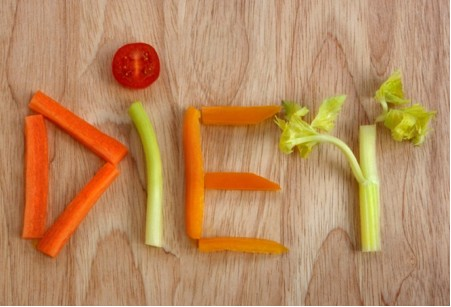 Diet spelled out in celery and carrots